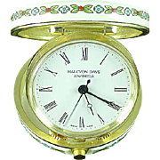 Halcyon Days Enamel Folding Traveling Mechanical Alarm Clock