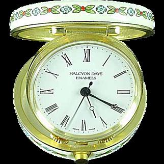 Halcyon Days Enamel Folding Traveling Mechanical Alarm Clock