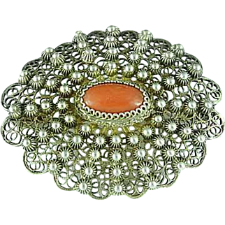 Vintage .800 Filigree Silver Brooch Pin With Red Coral Center