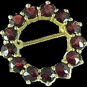 Vintage Gold Filled Garnet Circle Brooch Pin