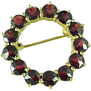 Vintage Gold Filled Garnet Circle Brooch Pin