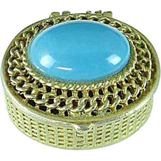 Vintage Turquoise Top Pill Box