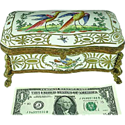 Hand Painted French Porcelain Ormolu Jewelry Box With Exotic Birds