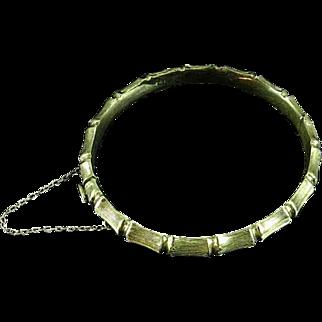 1960's English Vermeil Sterling Silver Bangle Bracelet Bamboo Design