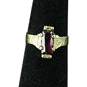 10k Victorian Rose Gold & Ruby Ring Size 7 Estate Find