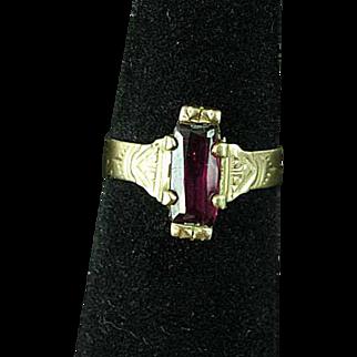 10k Victorian Rose Gold & Ruby Ring Size 7 Estate Find