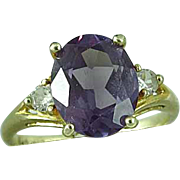 10k Yellow Gold and Alexandrite & Diamond Ring Size 5 Estate Find