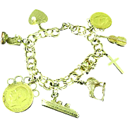 1960's 14k Gold Double Curb Link Charm Bracelet With 1911 Gold Sovereigns Shofel Bros.
