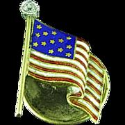 Victorian 14K Gold and Diamond US Flag Lapel Pin Centennial 1886
