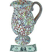 "10"" Italian Murano KB Millefiori Glass Footed Water Pitcher"