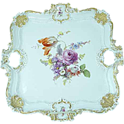 "Large Antique Meissen Floral Gold Gilded Serving Tray 16"" by 16"""
