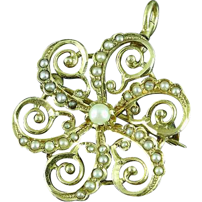 Vintage 14k Gold Snowflake Pin Brooch Pendant With Seed Pearls