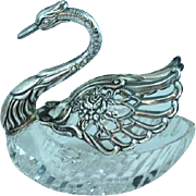 German Mid-20th Crystal and Sterling Silver Table Swan Movable Wings
