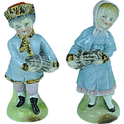 Pair of Dresden Figurines Children Carrying Bundles Excellent Condition