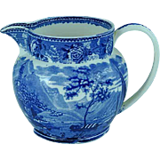 Large Wedgwood Flow Blue Landscape Pitcher Ca 1902