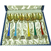 Ela Egon Lauridsen Danish Gold Gilt Sterling Silver Guilloche Enamel Spoon Set