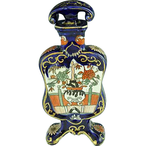 RARE Masons Ironstone Footed Cologne Bottle Cobalt Blue & Imari Colors Circa 1820