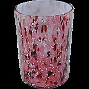 Victorian Glass Reverse Rubina Mica & Opal Spatter Water Tumbler c.1890