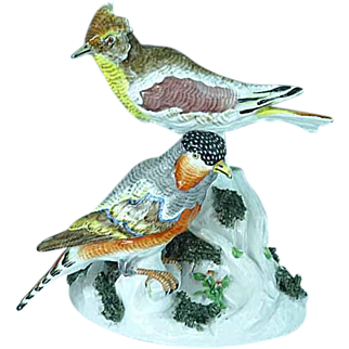 Superb Antique French Porcelain Achille Bloch Figurine Of Exotic Birds