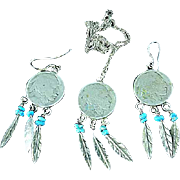 Native American Made Buffalo Indian Nickel Turquoise & Silver Earring & Necklace Set