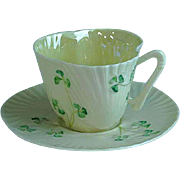 Delicate Irish Belleek Shamrock Demitasse Cup and Saucer