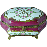 Hand Painted French Porcelain Ormolu Jewelry Box Gold Gilded With Pink Roses