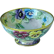 Antique Hand Painted Bavarian Bowl Gold Gilded Artist Signed Pansies