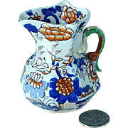 Rare Antique Miniature Masons Ironstone Imari Creamer With Gargoyle Handle Ca 1820