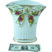 Vintage Royal Albert Old Country Roses Bone China Large Basketweave Vase