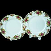2 Vintage Royal Albert Old Country Roses Bone China Dinner Plates #2