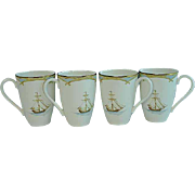4 Lenox British Colonial Bamboo Accent Mugs Never Used MINT