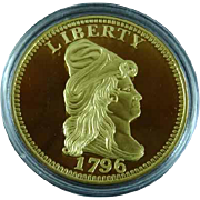Proof Gold Quarter Eagle 1796 Replica Medal Cu Plus 24K Gold