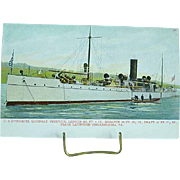1904 Undivided Back Postcard USS Dynamite Gunboat Vesuvius Spanish American War Ship