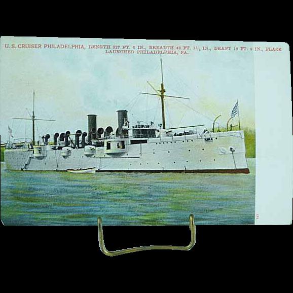 1904 Undivided Back Postcard USS Cruiser Philadelphia Spanish American War Ship