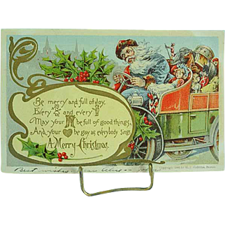 1906 Embossed Christmas Santa Postcard Santa In A Blue Robe Driving A Car Full Of Toys Robbins