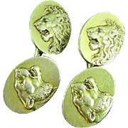 Antique Pair of Art Nouveau Solid 14k Gold Cameo Roaring Lion & Lioness Cuff Links