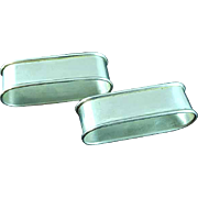 2 International Sterling Silver Rectangular Napkin Rings N141 No Mono