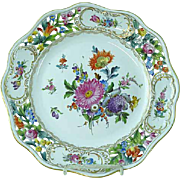 "Dresden Carl Thieme Hand Painted Floral Reticulated 10 1/4"" Cabinet Plate #2"