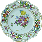 "Dresden Carl Thieme Hand Painted Floral Reticulated 10 1/4"" Cabinet Plate #1"