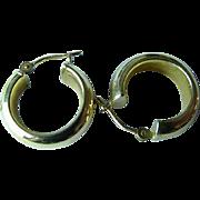 Wide 12k Gold Hoop Earrings For Pierced Ears