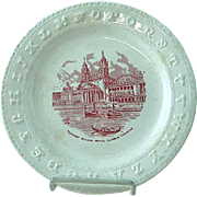 1893 Red Transfer ABC Plate Columbian Exposition Chicago Worlds Fair
