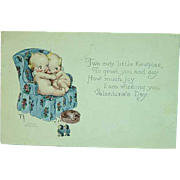 Artist Signed Rose O'Neill KEWPIES Hugging In Chair Valentine GREETINGS Postcard