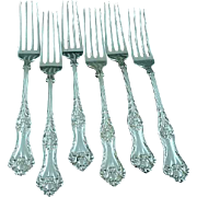 6 Howard Sterling Silver Monarque Forks Ca 1899