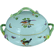 "Vintage Herend Bird & Insect Porcelain 10"" Ho Covered Serving Dish MINT"