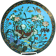 Antique Meiji Japanese Cloisonne Blue Enamel Large Plate Charger Floral & Bird