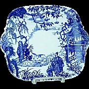 Vintage Royal Crown Derby Blue Mikado Cake Plate