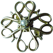 10K Gold & Seed Pearl Brooch Pin