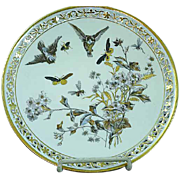 Antique Pirkenhammer Cabinet Plate Raised Hand Painted Birds Insects Gold Gilt