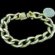"""14k Solid Gold Handmade Figaro Curb Link Bracelet 7.75"""" 39 gr 10.8MM"""