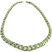 18k Solid Two Yellow Gold (Italy) Woven Link Necklace 17 Inches 34.7GM